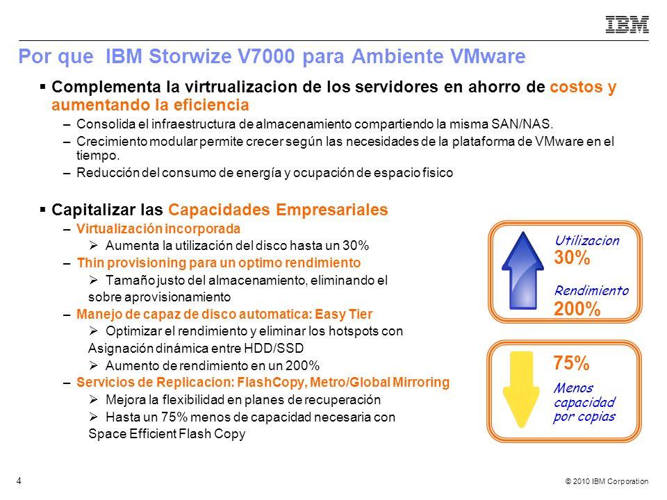 © 2010 IBM Corporation 4 Por que IBM Storwize V7000 para Ambiente VMware Complementa la virtrualizacion de los servidores en ahorro de costos y aument