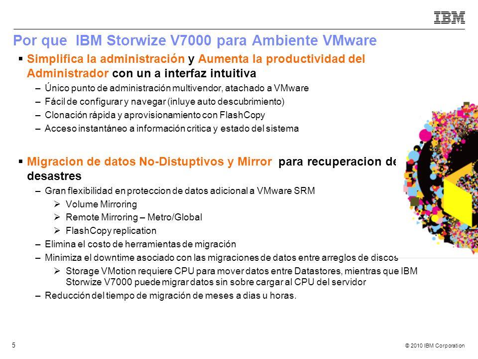 © 2010 IBM Corporation 5 Simplifica la administración y Aumenta la productividad del Administrador con un a interfaz intuitiva –Único punto de adminis