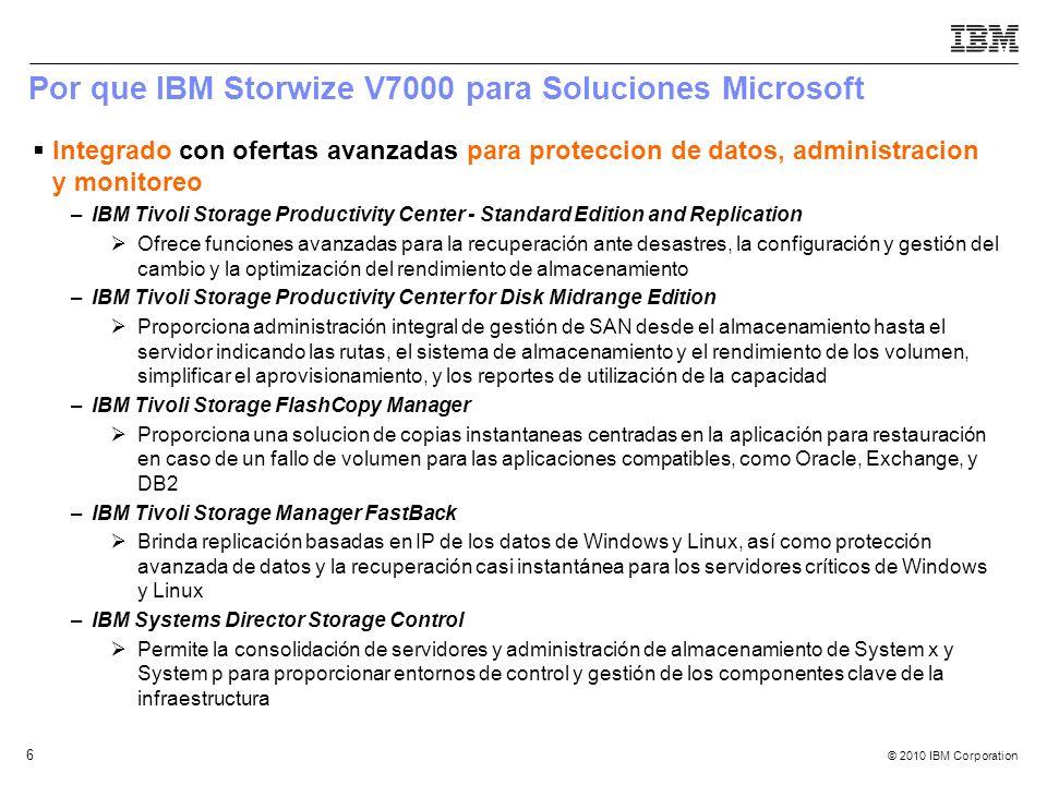 © 2010 IBM Corporation 6 Por que IBM Storwize V7000 para Soluciones Microsoft Integrado con ofertas avanzadas para proteccion de datos, administracion