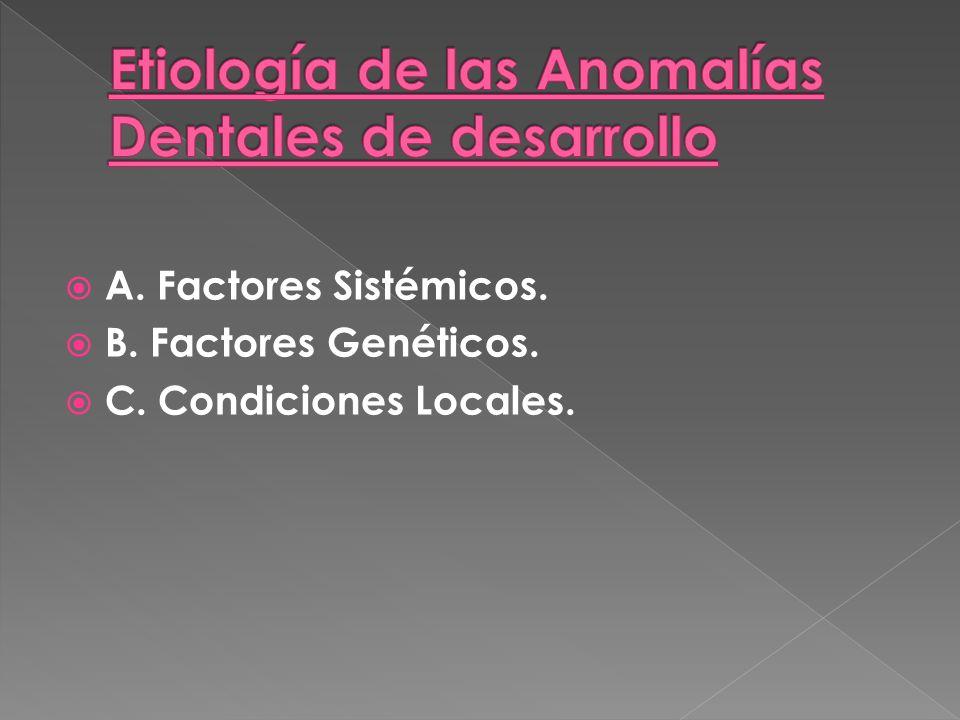 A. Factores Sistémicos. B. Factores Genéticos. C. Condiciones Locales.