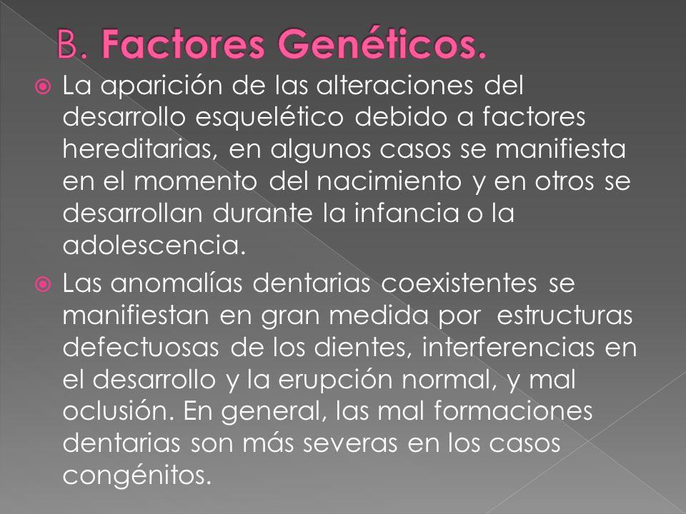La aparición de las alteraciones del desarrollo esquelético debido a factores hereditarias, en algunos casos se manifiesta en el momento del nacimient