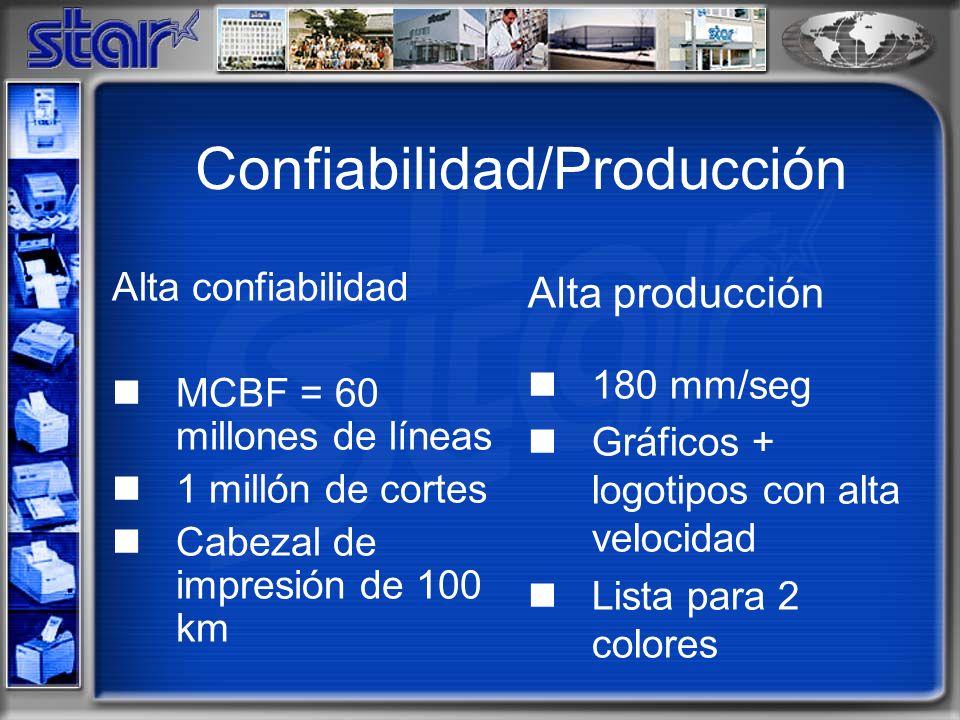 Confiabilidad/Producción Alta confiabilidad MCBF = 60 millones de líneas 1 millón de cortes Cabezal de impresión de 100 km Alta producción 180 mm/seg Gráficos + logotipos con alta velocidad Lista para 2 colores