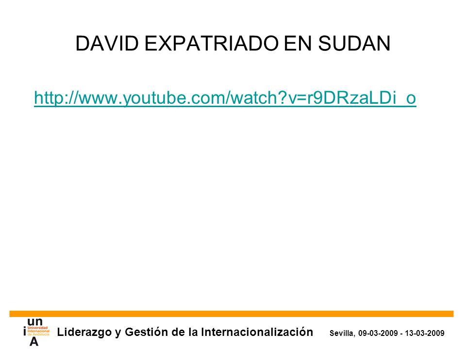 Liderazgo y Gestión de la Internacionalización Sevilla, 09-03-2009 - 13-03-2009 DAVID EXPATRIADO EN SUDAN http://www.youtube.com/watch v=r9DRzaLDi_o
