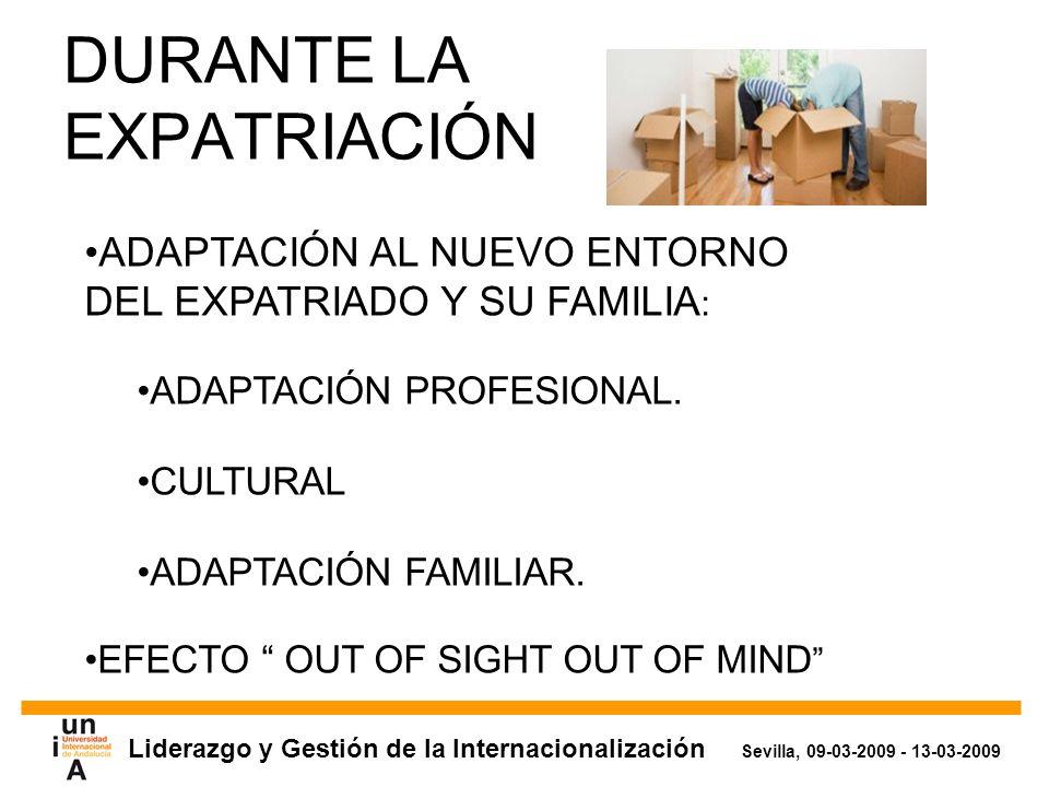 Liderazgo y Gestión de la Internacionalización Sevilla, 09-03-2009 - 13-03-2009 DURANTE LA EXPATRIACIÓN ADAPTACIÓN AL NUEVO ENTORNO DEL EXPATRIADO Y SU FAMILIA : ADAPTACIÓN PROFESIONAL.