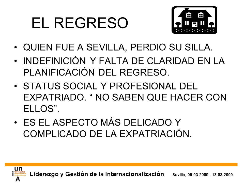 Liderazgo y Gestión de la Internacionalización Sevilla, 09-03-2009 - 13-03-2009 EL REGRESO QUIEN FUE A SEVILLA, PERDIO SU SILLA.