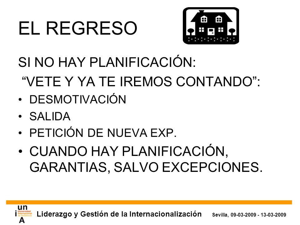 Liderazgo y Gestión de la Internacionalización Sevilla, 09-03-2009 - 13-03-2009 EL REGRESO SI NO HAY PLANIFICACIÓN: VETE Y YA TE IREMOS CONTANDO: DESMOTIVACIÓN SALIDA PETICIÓN DE NUEVA EXP.
