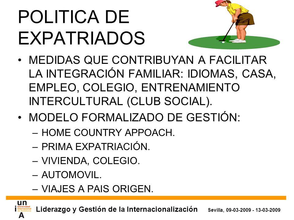 Liderazgo y Gestión de la Internacionalización Sevilla, 09-03-2009 - 13-03-2009 POLITICA DE EXPATRIADOS MEDIDAS QUE CONTRIBUYAN A FACILITAR LA INTEGRACIÓN FAMILIAR: IDIOMAS, CASA, EMPLEO, COLEGIO, ENTRENAMIENTO INTERCULTURAL (CLUB SOCIAL).