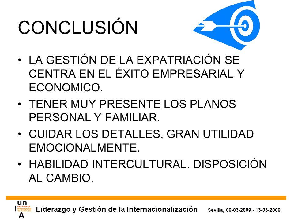 Liderazgo y Gestión de la Internacionalización Sevilla, 09-03-2009 - 13-03-2009 CONCLUSIÓN LA GESTIÓN DE LA EXPATRIACIÓN SE CENTRA EN EL ÉXITO EMPRESARIAL Y ECONOMICO.