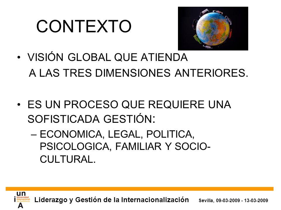 Liderazgo y Gestión de la Internacionalización Sevilla, 09-03-2009 - 13-03-2009 CONTEXTO VISIÓN GLOBAL QUE ATIENDA A LAS TRES DIMENSIONES ANTERIORES.