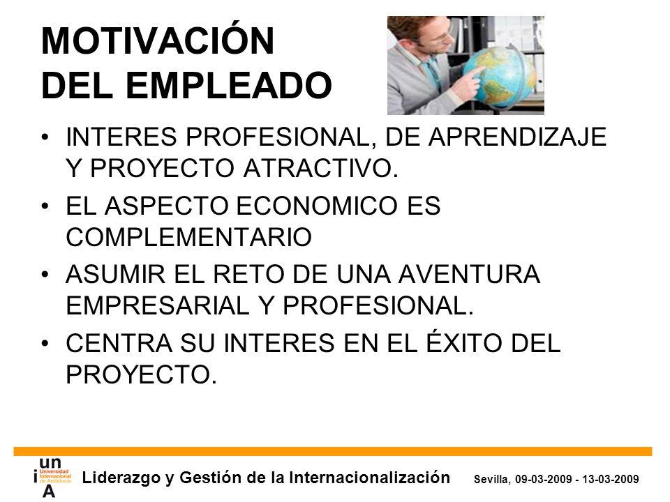 Liderazgo y Gestión de la Internacionalización Sevilla, 09-03-2009 - 13-03-2009 MOTIVACIÓN DEL EMPLEADO INTERES PROFESIONAL, DE APRENDIZAJE Y PROYECTO ATRACTIVO.