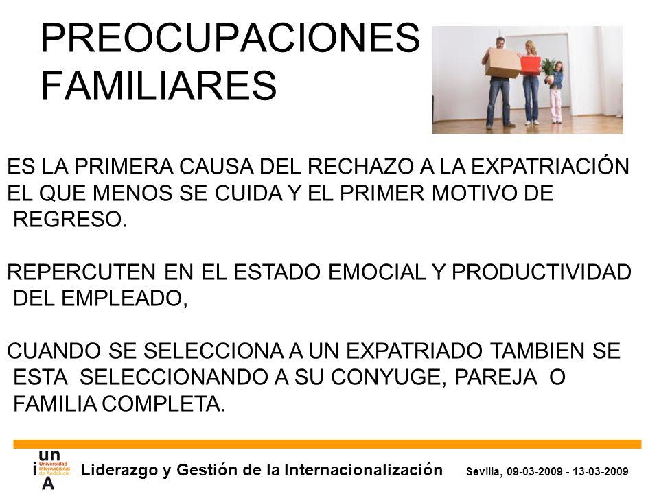 Liderazgo y Gestión de la Internacionalización Sevilla, 09-03-2009 - 13-03-2009 PREOCUPACIONES FAMILIARES ES LA PRIMERA CAUSA DEL RECHAZO A LA EXPATRIACIÓN EL QUE MENOS SE CUIDA Y EL PRIMER MOTIVO DE REGRESO.