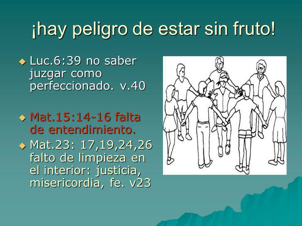 ¡hay peligro de estar sin fruto! Luc.6:39 no saber juzgar como perfeccionado. v.40 Mat.15:14-16 falta de entendimiento. Mat.23: 17,19,24,26 falto de l