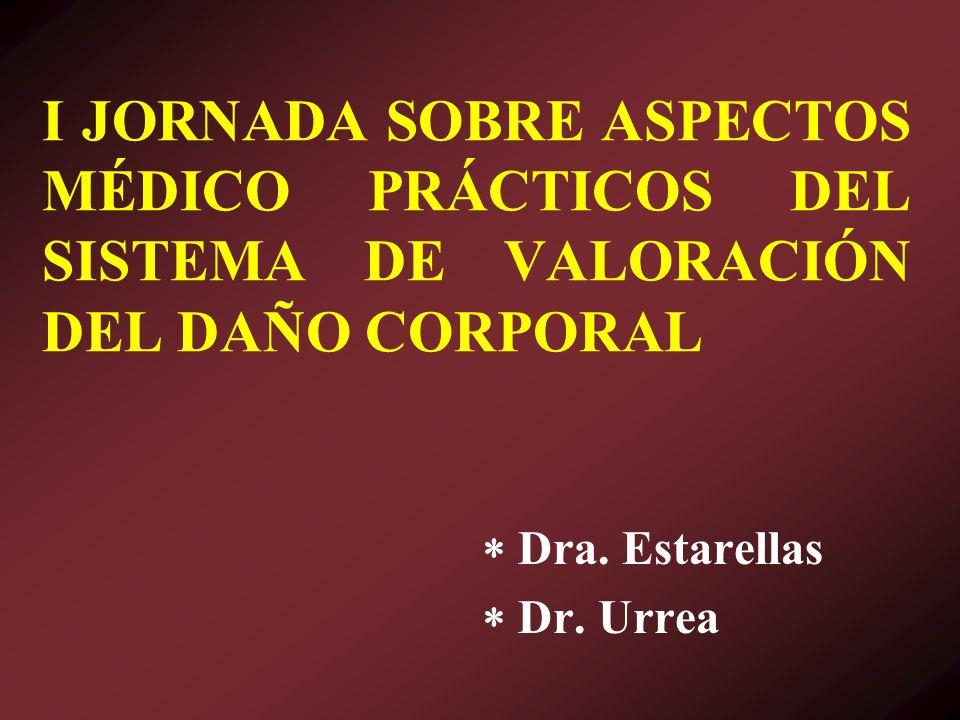 I JORNADA SOBRE ASPECTOS MÉDICO PRÁCTICOS DEL SISTEMA DE VALORACIÓN DEL DAÑO CORPORAL Dra. Estarellas Dr. Urrea