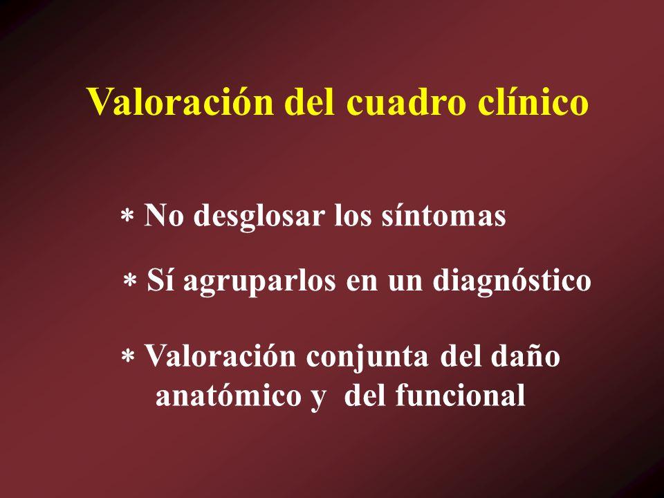 No desglosar los síntomas Sí agruparlos en un diagnóstico Valoración del cuadro clínico Valoración conjunta del daño anatómico y del funcional