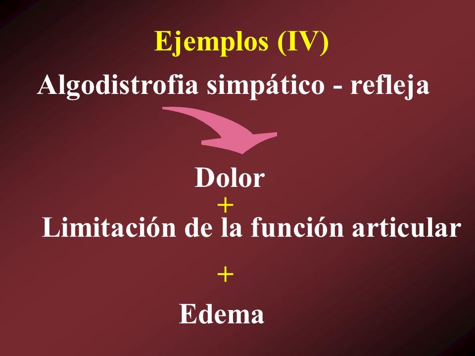 Ejemplos (IV) Algodistrofia simpático - refleja Dolor + Limitación de la función articular + Edema