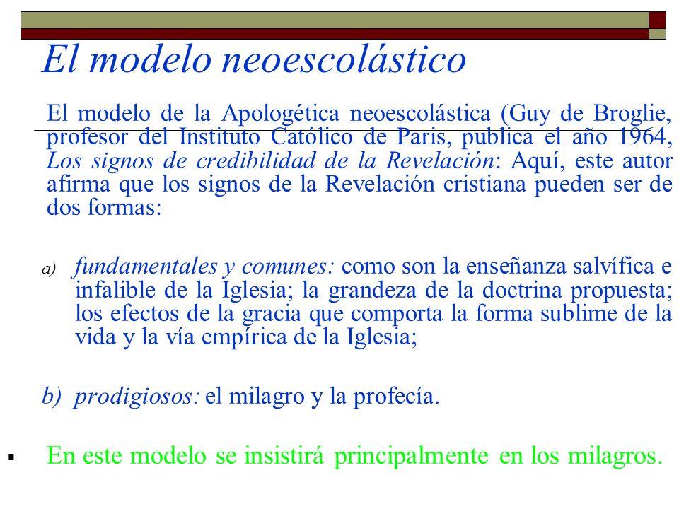 El modelo neoescolástico El modelo de la Apologética neoescolástica (Guy de Broglie, profesor del Instituto Católico de Paris, publica el año 1964, Lo