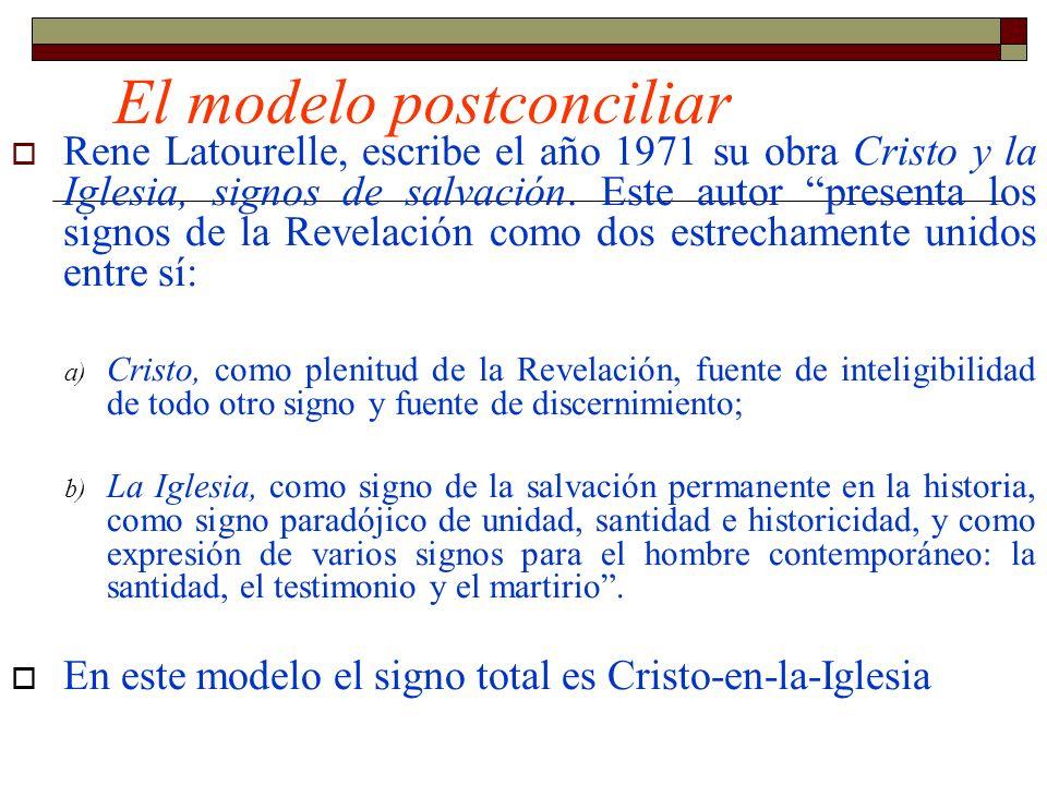 El modelo postconciliar Rene Latourelle, escribe el año 1971 su obra Cristo y la Iglesia, signos de salvación. Este autor presenta los signos de la Re