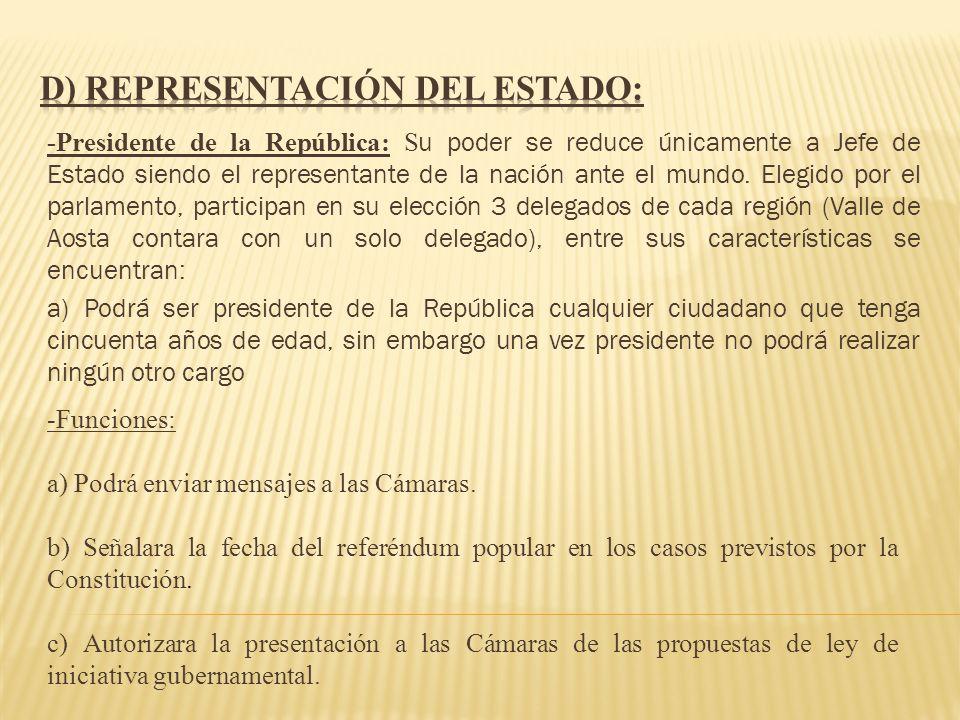 -Presidente de la República: S u poder se reduce únicamente a Jefe de Estado siendo el representante de la nación ante el mundo. Elegido por el parlam