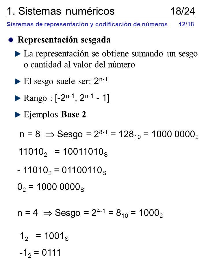 Representación sesgada La representación se obtiene sumando un sesgo o cantidad al valor del número El sesgo suele ser: 2 n-1 Rango : [-2 n-1, 2 n-1 -