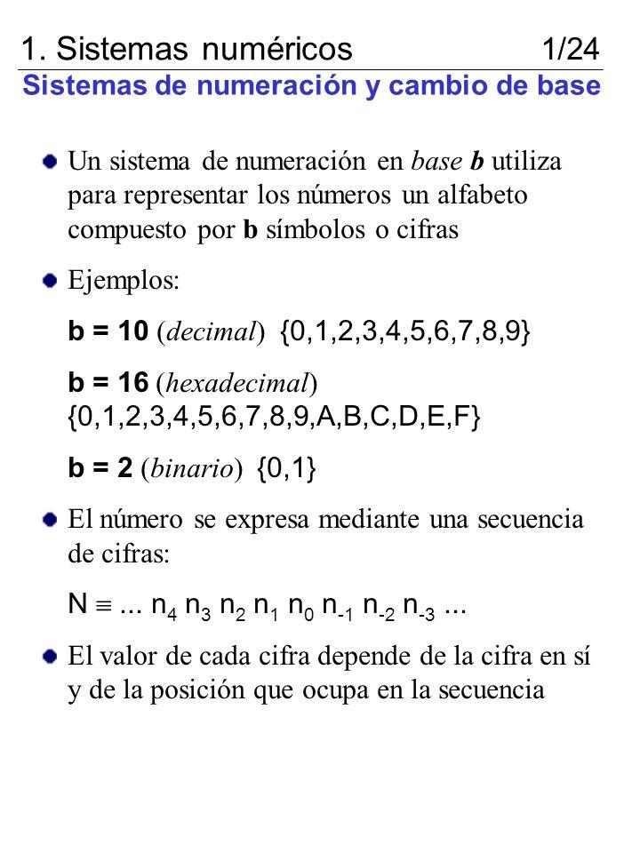 Sistemas de numeración y cambio de base Un sistema de numeración en base b utiliza para representar los números un alfabeto compuesto por b símbolos o
