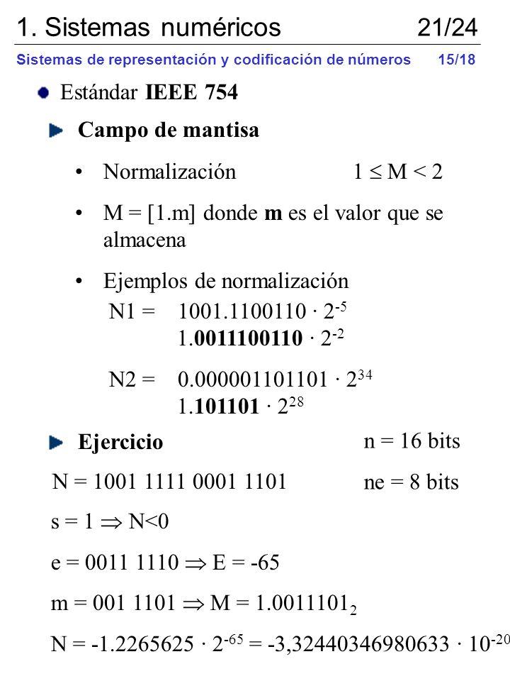 Estándar IEEE 754 Campo de mantisa Normalización 1 M < 2 M = [1.m] donde m es el valor que se almacena Ejemplos de normalización N1 = 1001.1100110 · 2