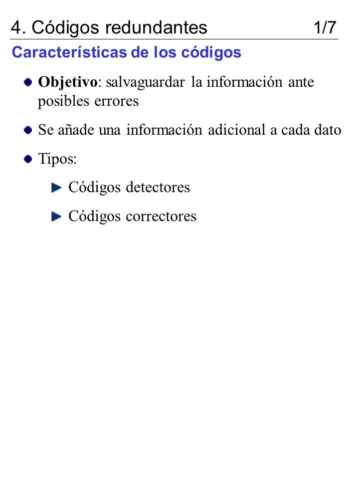 Características de los códigos 4. Códigos redundantes 1/7 Objetivo: salvaguardar la información ante posibles errores Se añade una información adicion