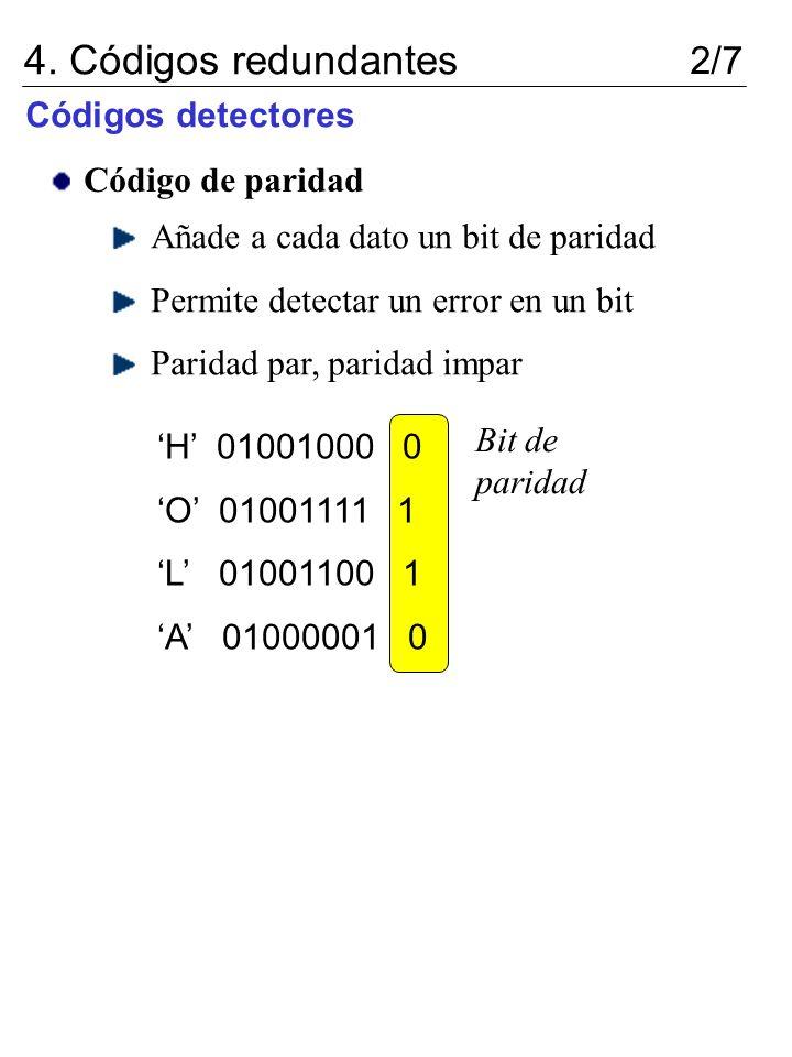4. Códigos redundantes 2/7 Códigos detectores Código de paridad Añade a cada dato un bit de paridad Permite detectar un error en un bit Paridad par, p
