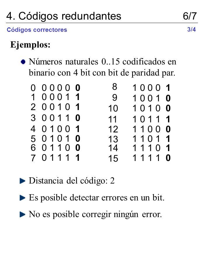 4. Códigos redundantes 6/7 Códigos correctores Ejemplos: Números naturales 0..15 codificados en binario con 4 bit con bit de paridad par. Distancia de