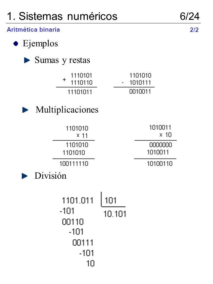 Ejemplos Sumas y restas Multiplicaciones División 1. Sistemas numéricos 6/24 Aritmética binaria 2/2