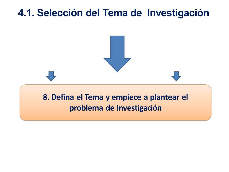 4.1. Selección del Tema de Investigación 8. Defina el Tema y empiece a plantear el problema de Investigación