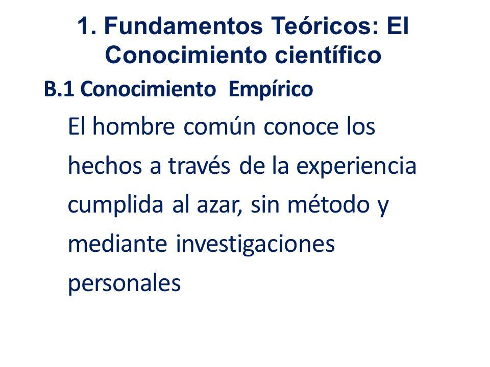 B.1 Conocimiento Empírico El hombre común conoce los hechos a través de la experiencia cumplida al azar, sin método y mediante investigaciones persona