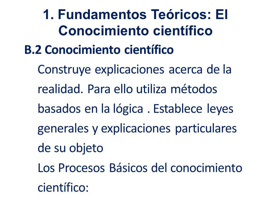 B.2 Conocimiento científico Construye explicaciones acerca de la realidad. Para ello utiliza métodos basados en la lógica. Establece leyes generales y