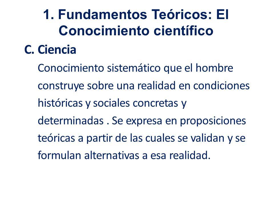 C. Ciencia Conocimiento sistemático que el hombre construye sobre una realidad en condiciones históricas y sociales concretas y determinadas. Se expre