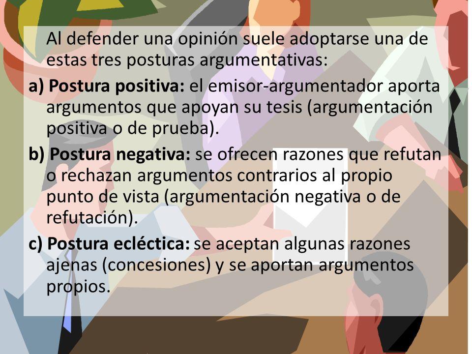 Al defender una opinión suele adoptarse una de estas tres posturas argumentativas: a) Postura positiva: el emisor-argumentador aporta argumentos que a