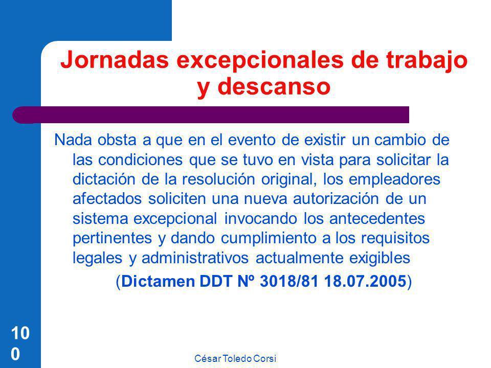 César Toledo Corsi 100 Jornadas excepcionales de trabajo y descanso Nada obsta a que en el evento de existir un cambio de las condiciones que se tuvo
