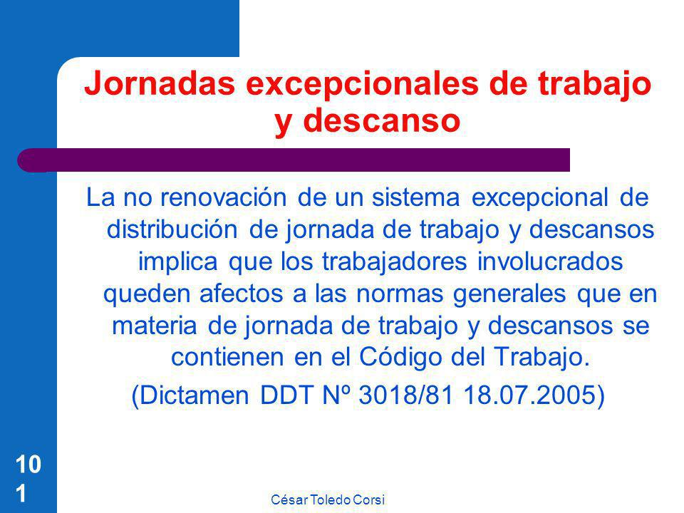 César Toledo Corsi 101 Jornadas excepcionales de trabajo y descanso La no renovación de un sistema excepcional de distribución de jornada de trabajo y