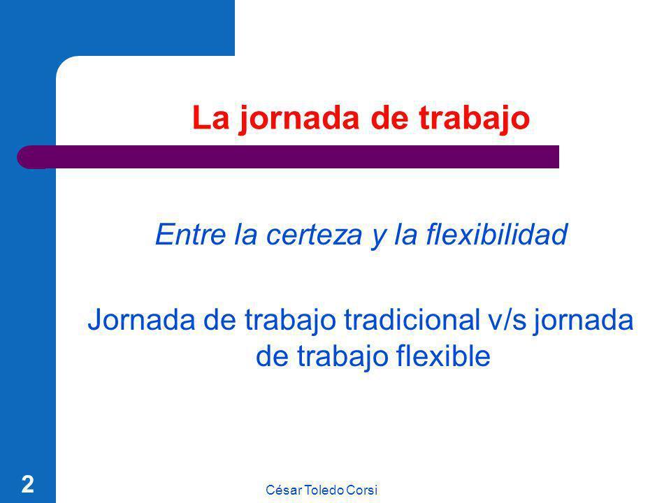 César Toledo Corsi 123 Contratos con jornada de tiempo parcial Las partes podrán pactar alternativas de distribución de jornada.