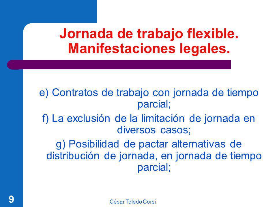 César Toledo Corsi 9 Jornada de trabajo flexible. Manifestaciones legales. e) Contratos de trabajo con jornada de tiempo parcial; f) La exclusión de l