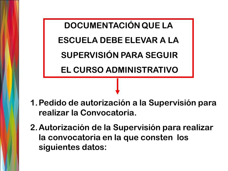 DOCUMENTACIÓN QUE LA ESCUELA DEBE ELEVAR A LA SUPERVISIÓN PARA SEGUIR EL CURSO ADMINISTRATIVO 1.Pedido de autorización a la Supervisión para realizar