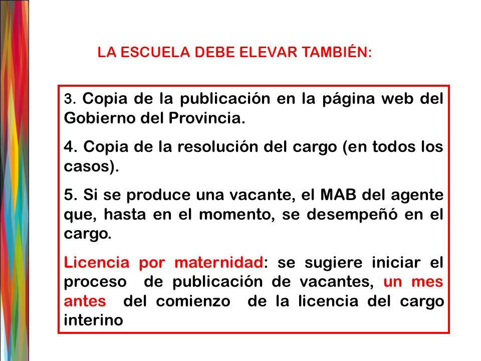 3. Copia de la publicación en la página web del Gobierno del Provincia. 4. Copia de la resolución del cargo (en todos los casos). 5. Si se produce una
