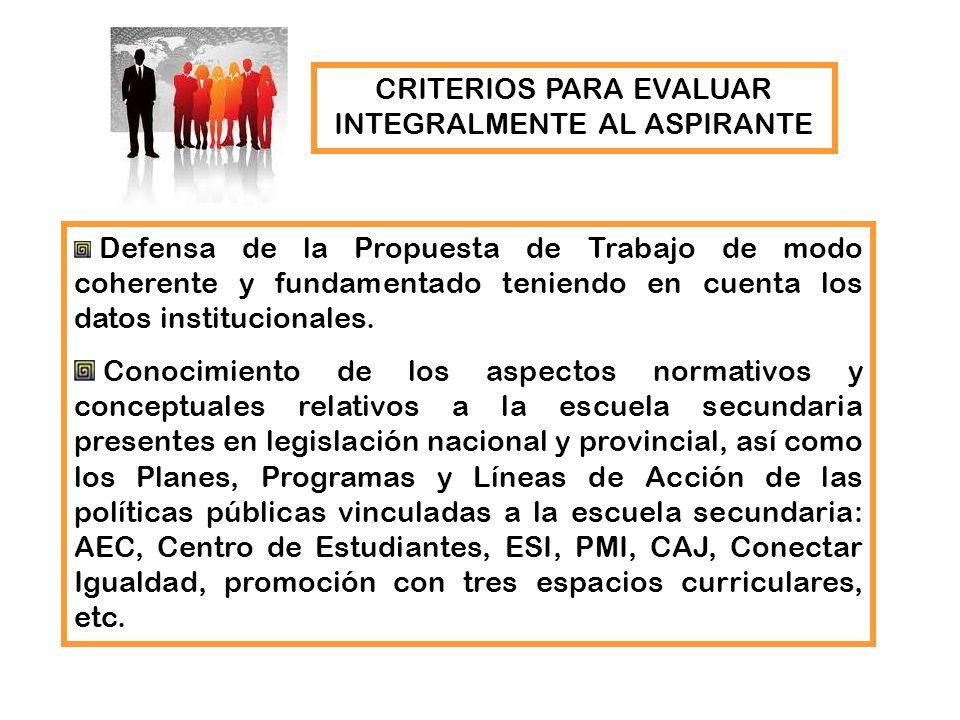 Defensa de la Propuesta de Trabajo de modo coherente y fundamentado teniendo en cuenta los datos institucionales. Conocimiento de los aspectos normati