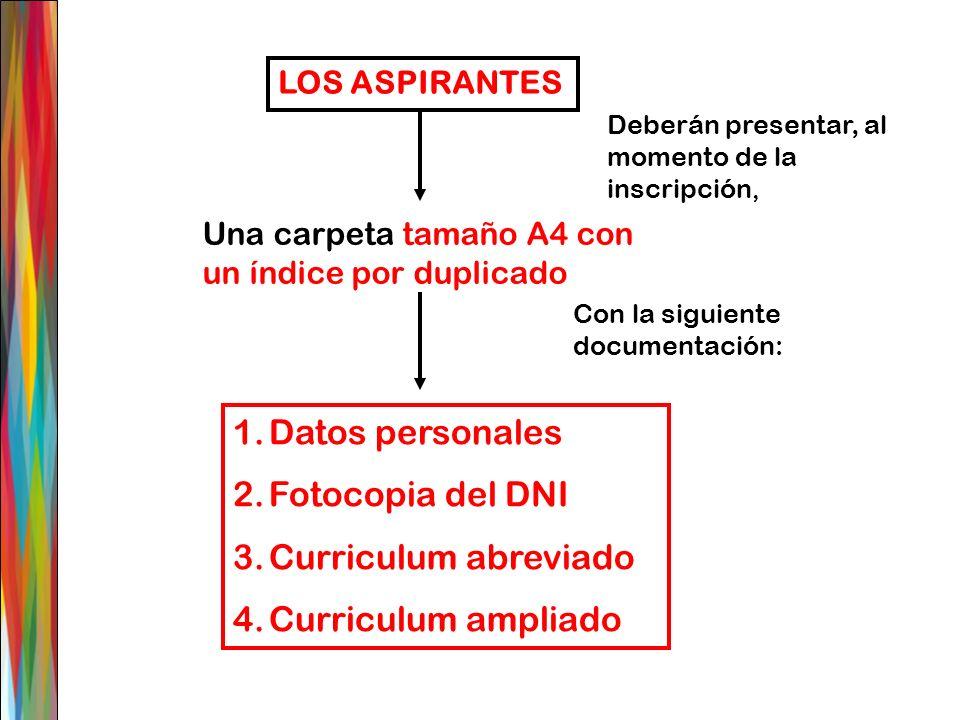 LOS ASPIRANTES Deberán presentar, al momento de la inscripción, 1.Datos personales 2.Fotocopia del DNI 3.Curriculum abreviado 4.Curriculum ampliado Un