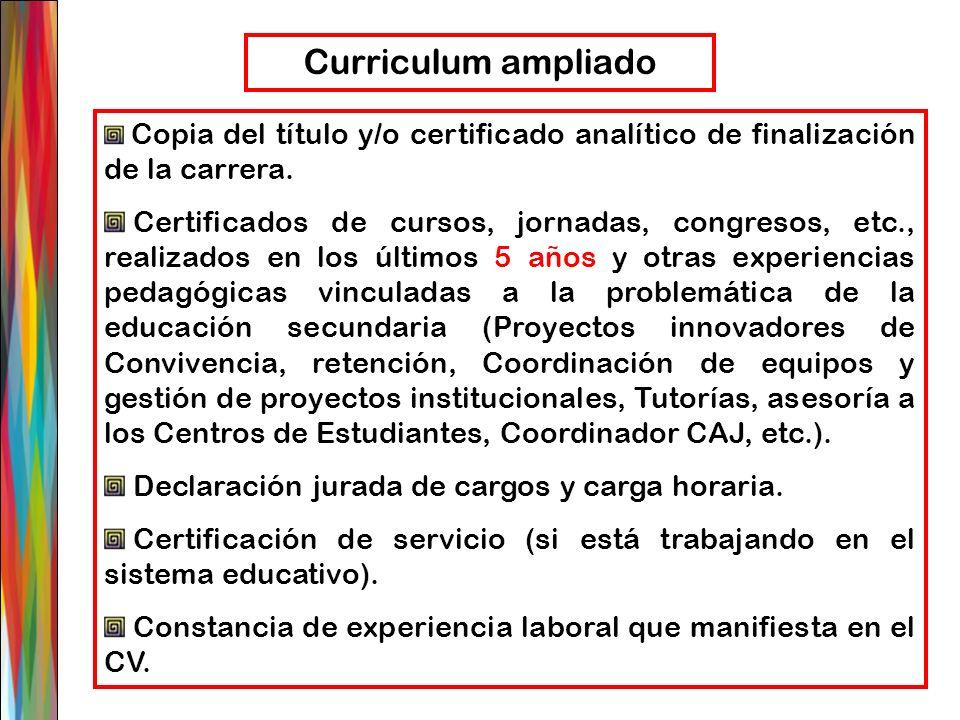 Copia del título y/o certificado analítico de finalización de la carrera. Certificados de cursos, jornadas, congresos, etc., realizados en los últimos