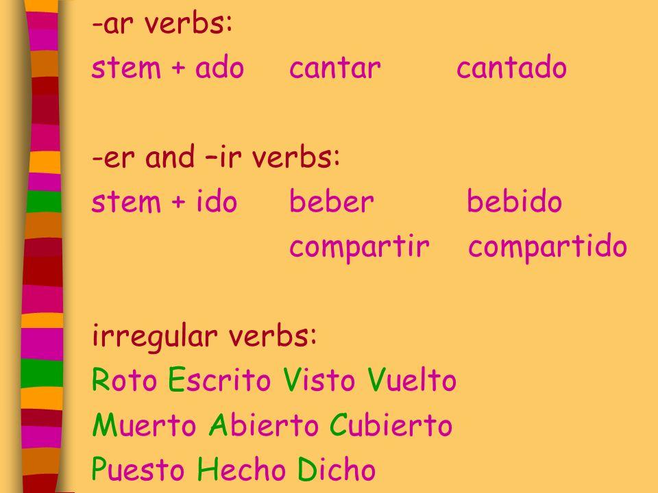 -ar verbs: stem + adocantar cantado -er and –ir verbs: stem + idobeber bebido compartir compartido irregular verbs: Roto Escrito Visto Vuelto Muerto A