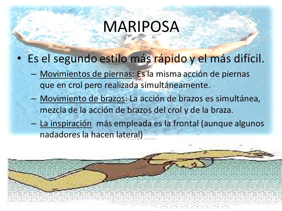MARIPOSA Es el segundo estilo más rápido y el más difícil. – Movimientos de piernas: Es la misma acción de piernas que en crol pero realizada simultán