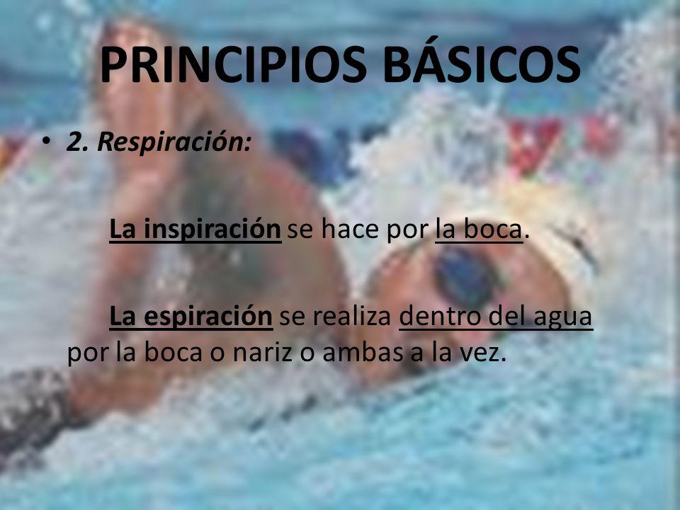 PRINCIPIOS BÁSICOS 2. Respiración: La inspiración se hace por la boca. La espiración se realiza dentro del agua por la boca o nariz o ambas a la vez.