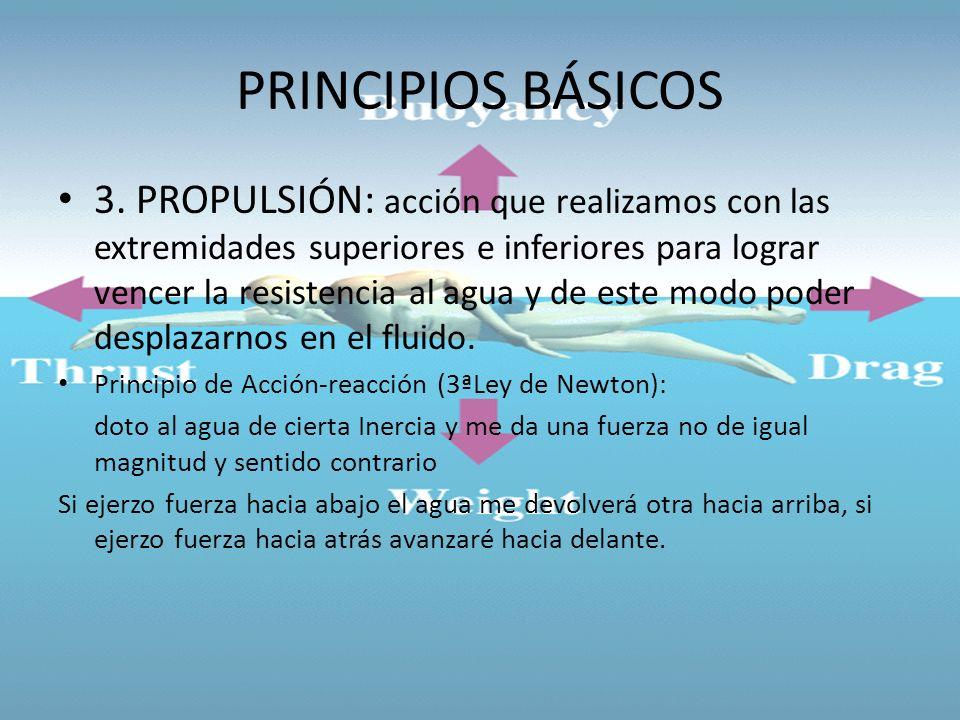 PRINCIPIOS BÁSICOS 3. PROPULSIÓN: acción que realizamos con las extremidades superiores e inferiores para lograr vencer la resistencia al agua y de es