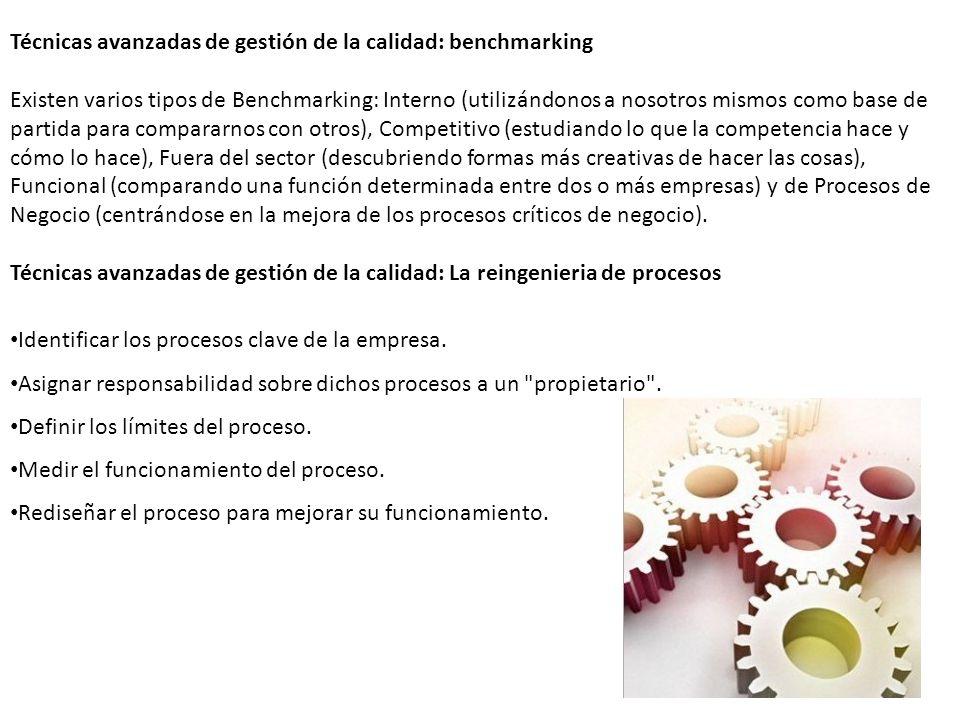 Técnicas avanzadas de gestión de la calidad: benchmarking Existen varios tipos de Benchmarking: Interno (utilizándonos a nosotros mismos como base de