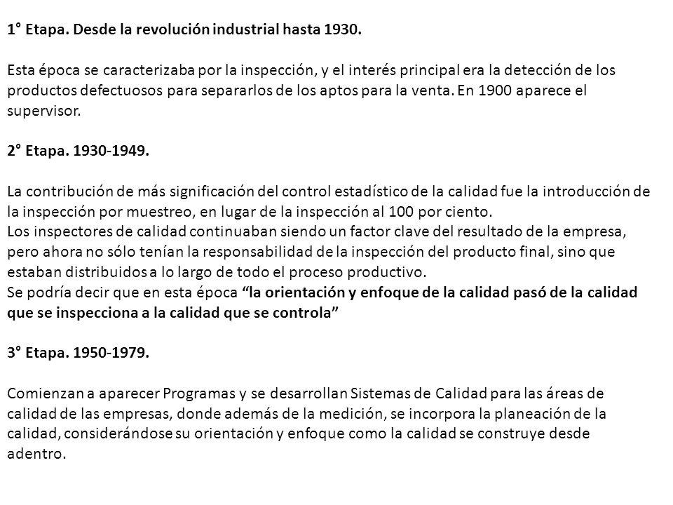 1° Etapa. Desde la revolución industrial hasta 1930. Esta época se caracterizaba por la inspección, y el interés principal era la detección de los pro