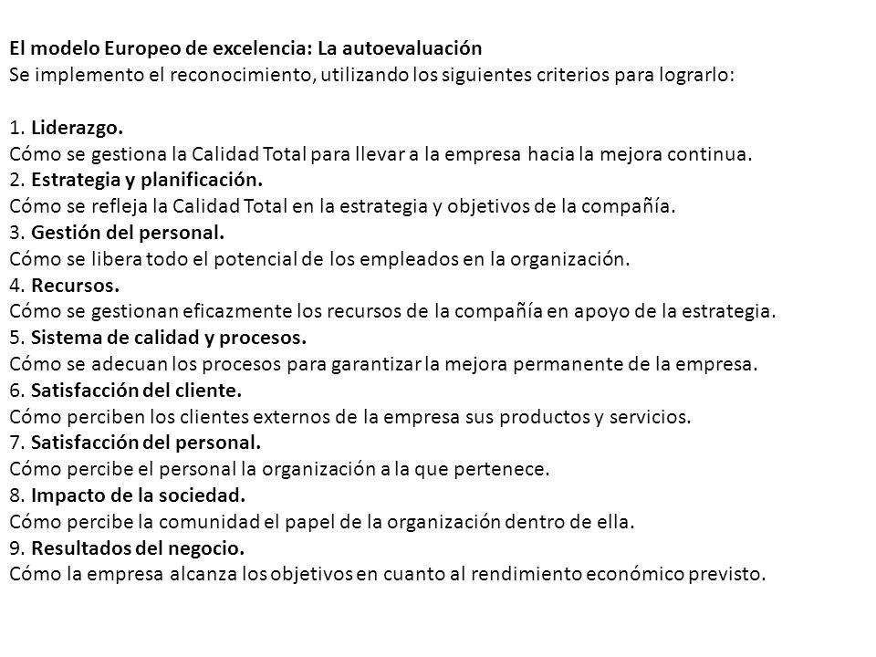 El modelo Europeo de excelencia: La autoevaluación Se implemento el reconocimiento, utilizando los siguientes criterios para lograrlo: 1. Liderazgo. C